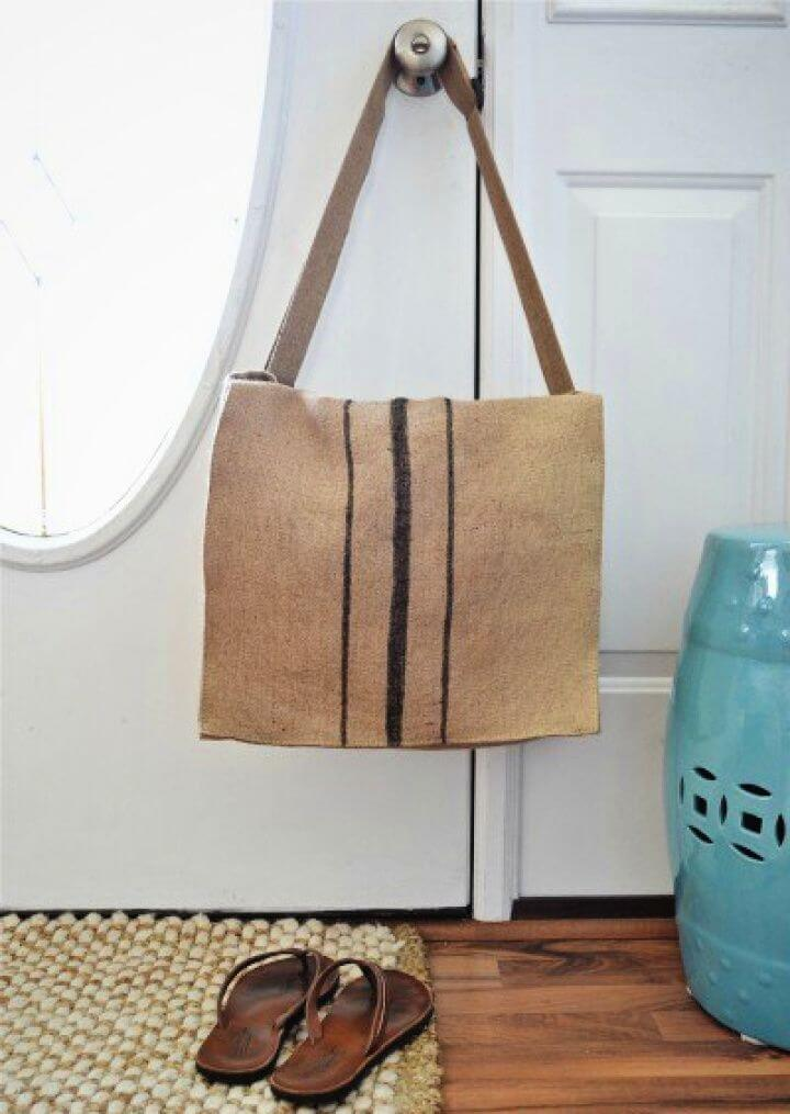 How To DIY Burlap Messenger Bag