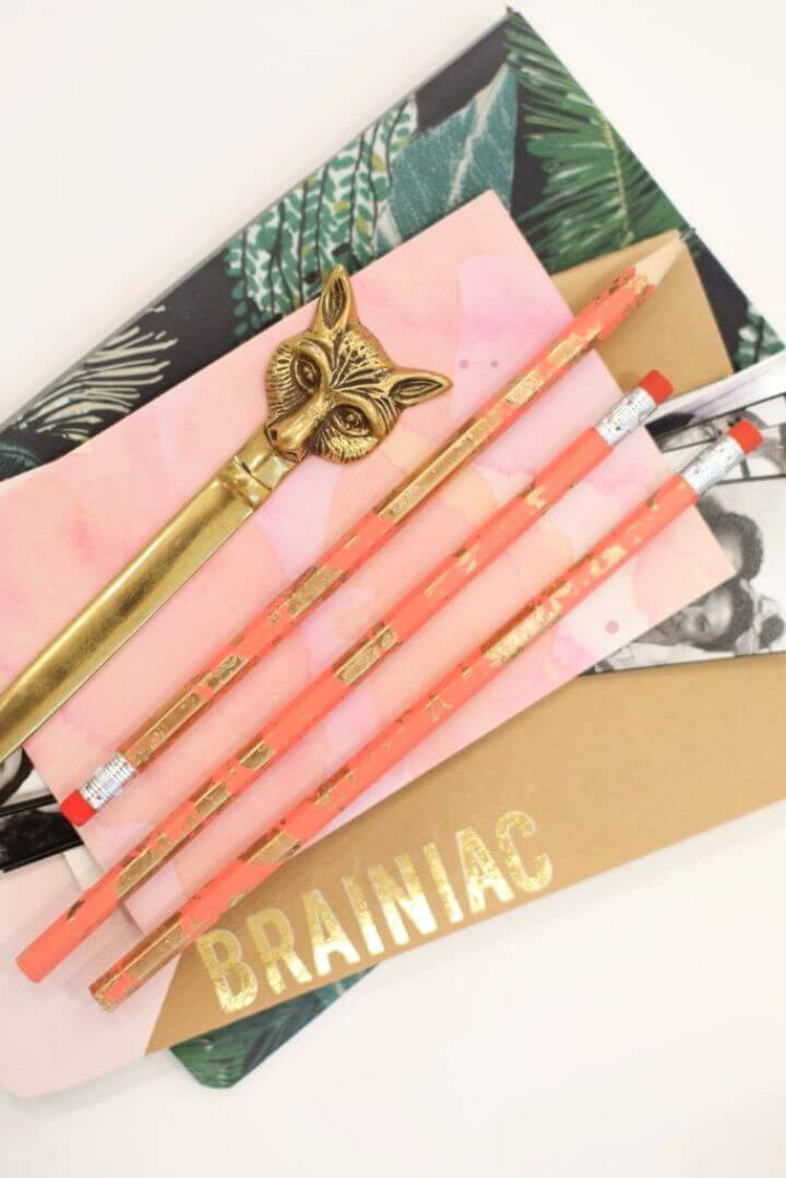 How To DIY Gold Marbled Pencils
