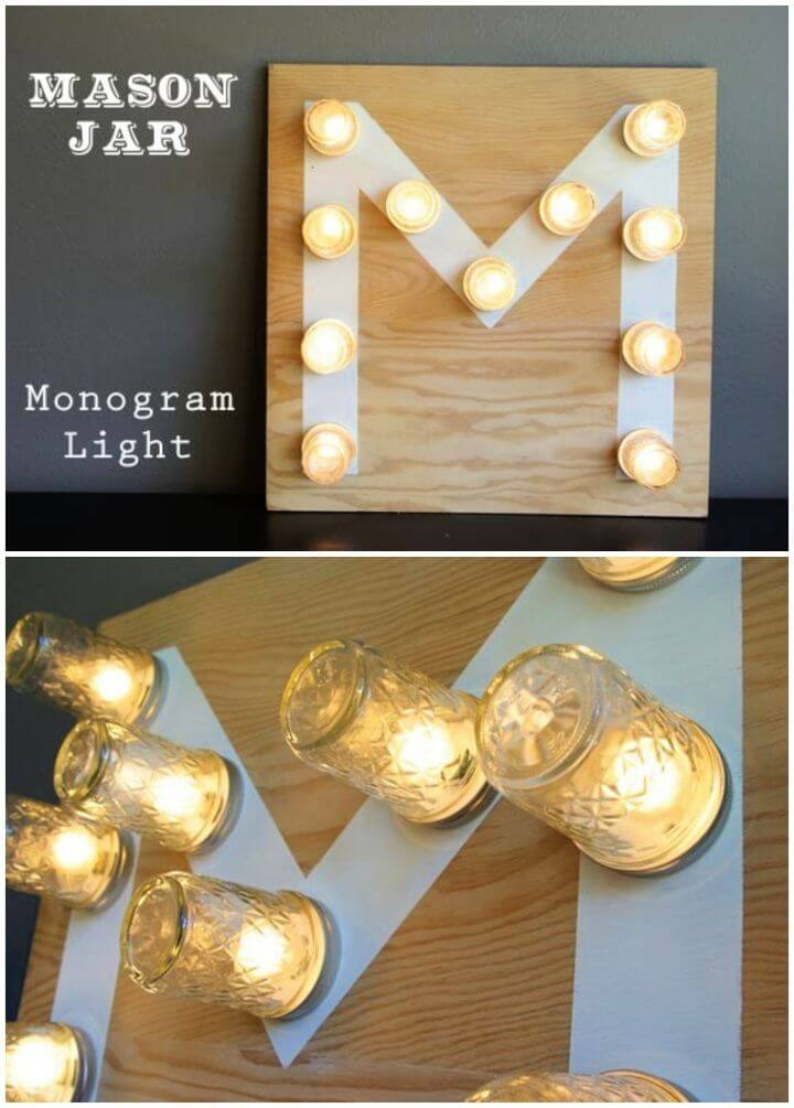 How To DIY Mason Jar Monogram Light