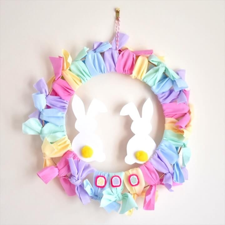 How to Make an Easy DIY Easter Wreath with free mini Easter Egg cross stitch patterns
