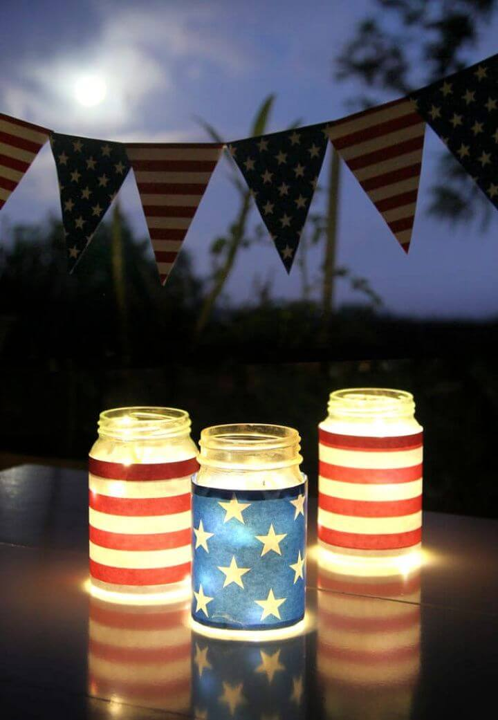 July 4th Mason Jar Lights Decorations