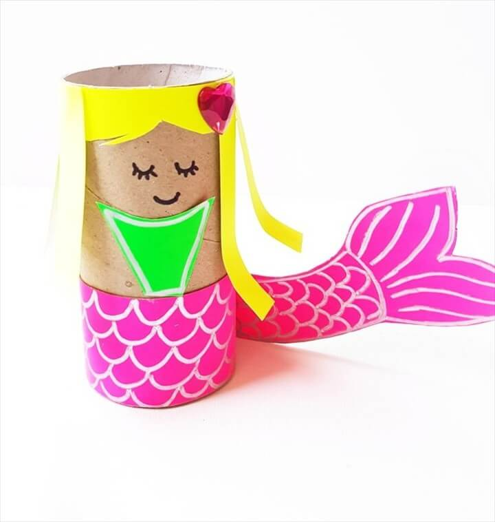 Kid Summer Crafts Mermaid Paper Roll DIY Tutorial