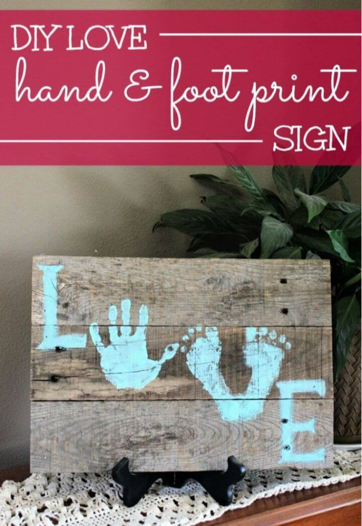 Love Hand Foot Print Wood Pallet Sign