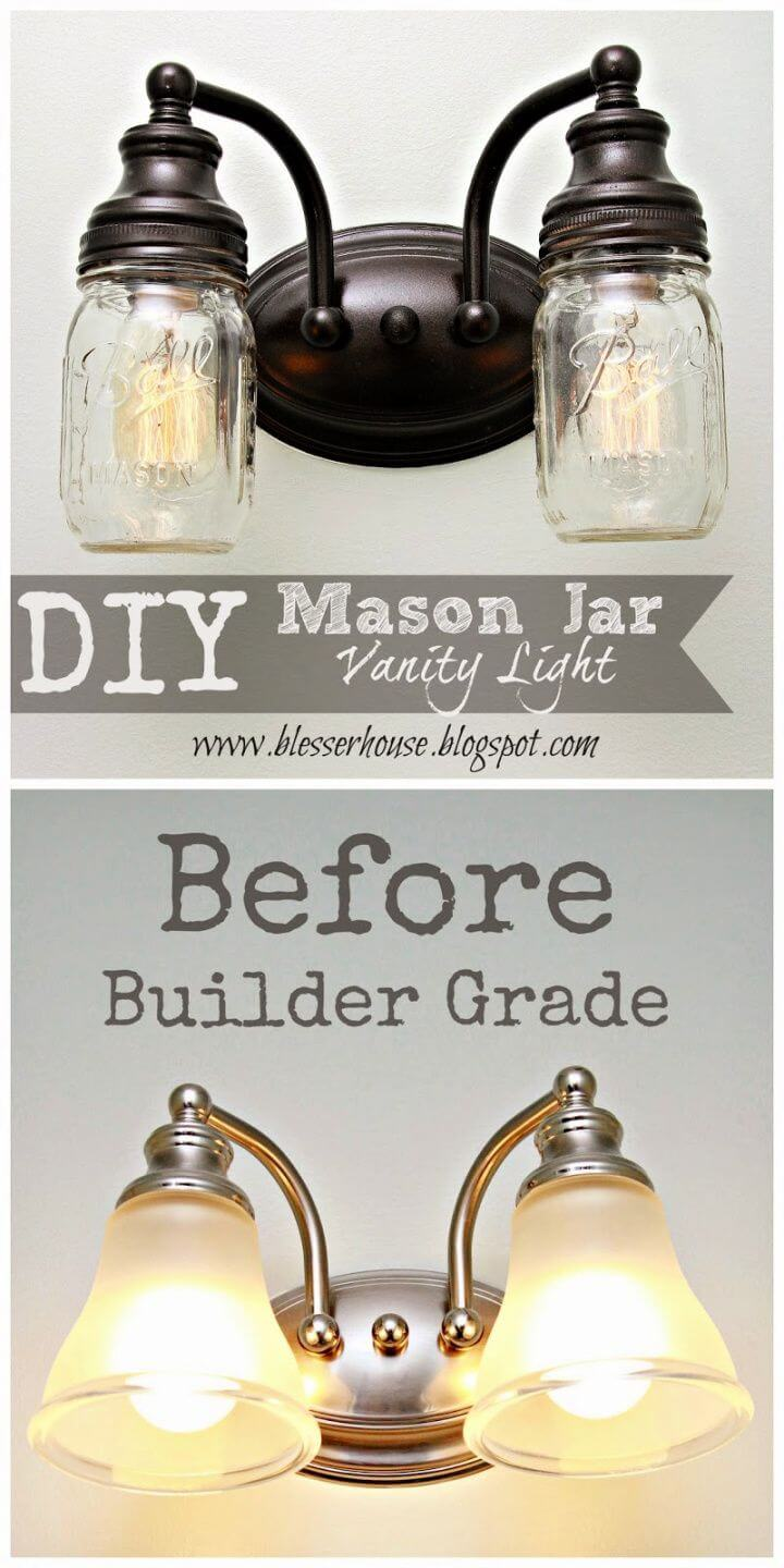 Make A DIY Mason Jar Vanity Light