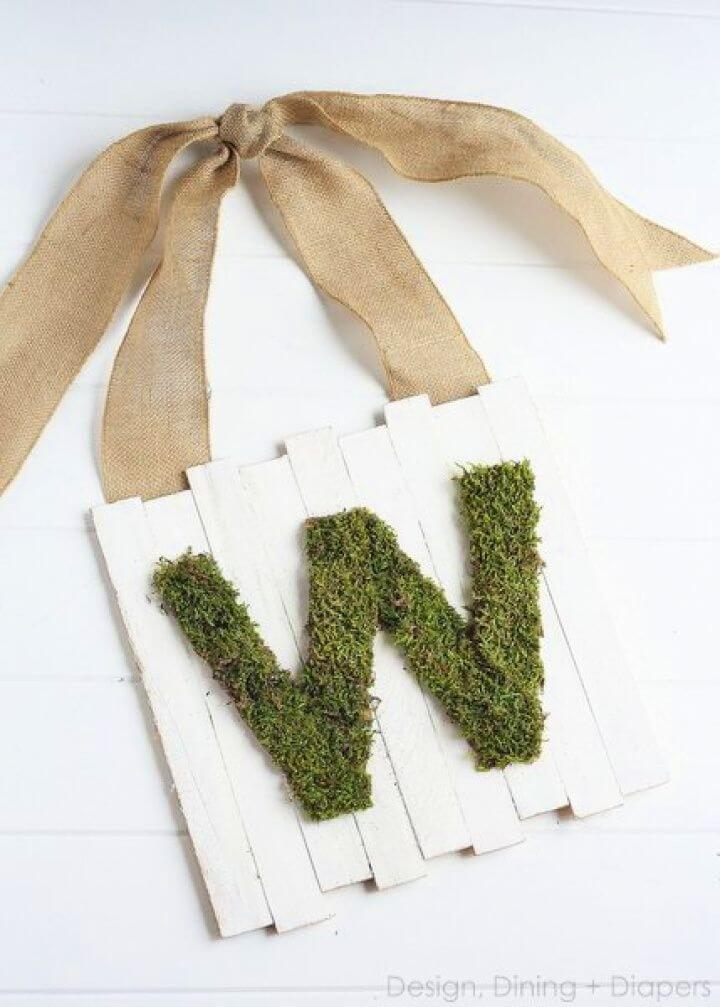 Moss Monogram Door Wood Pallet Sign For Spring