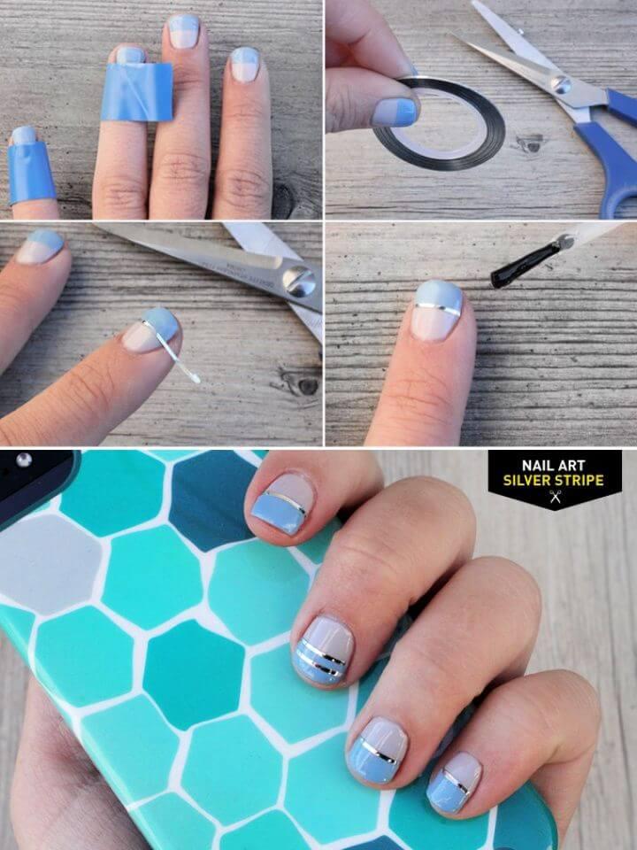 Nail Art Silver Stripe