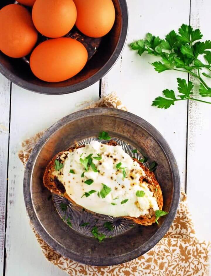 Open Faced Mediterranean Style Breakfast Sandwich