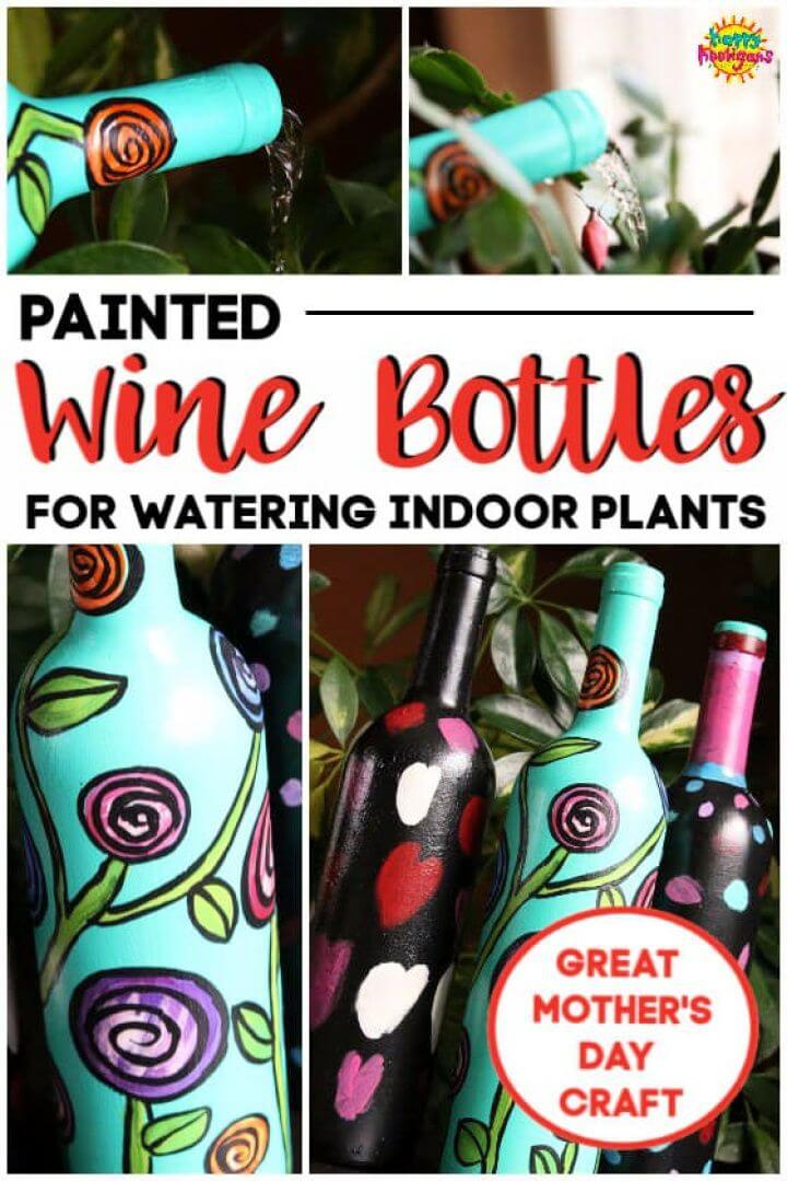 Painted Wine Bottles for Watering Indoor Plants