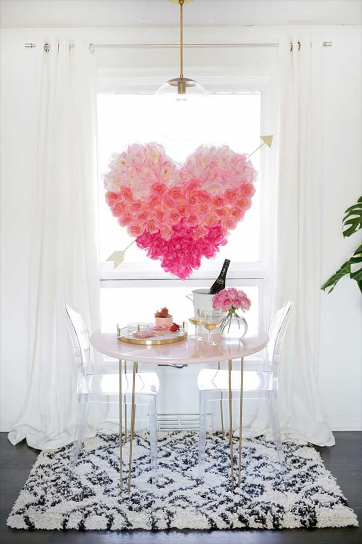 Pink DIY Room Decor Ideas DIY Hanging Flower Heart Cool Pink Bedroom Crafts