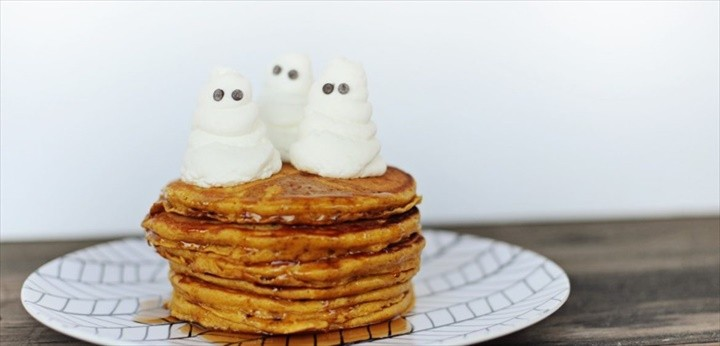 Pumpkin Pancakes Recipe with Whipped Cream Ghosts