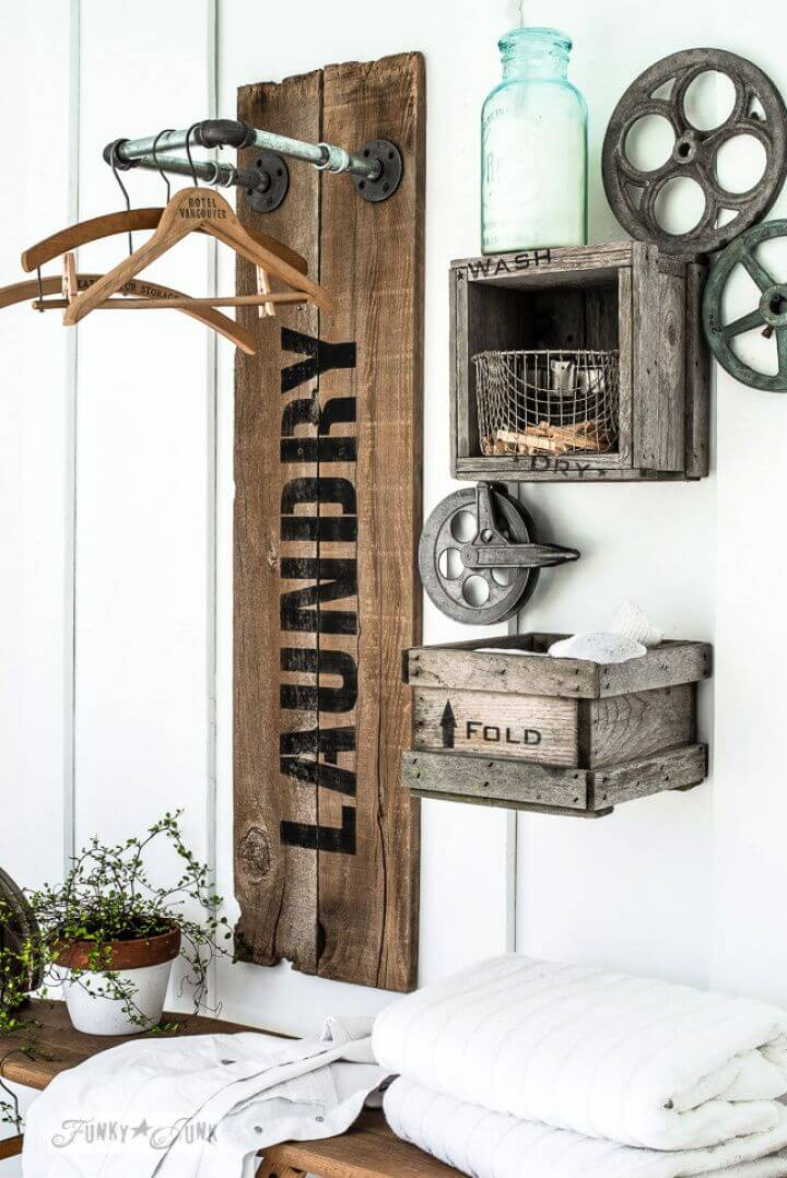 Reclaimed Wood And Pipe Laundry Sign Hanging Station