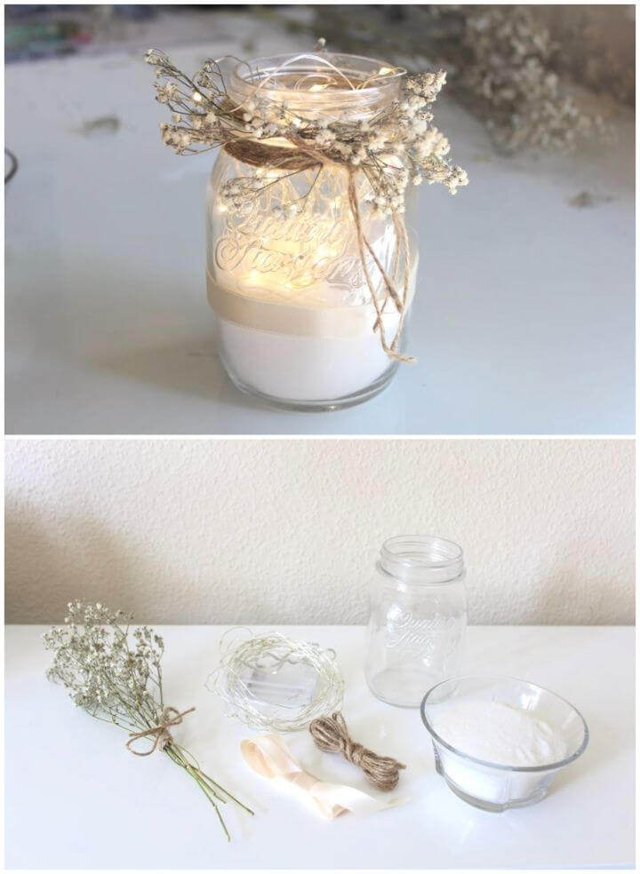 Rustic DIY Mason Jar with String Lights