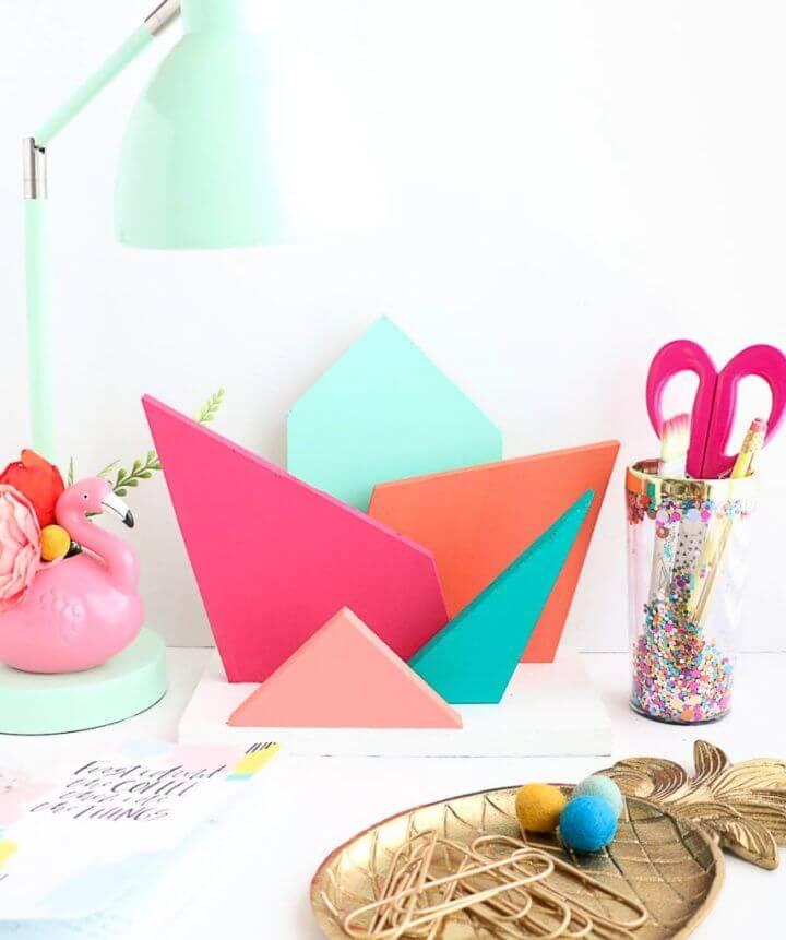 Simple DIY Colorful Geometric Desk Organizer