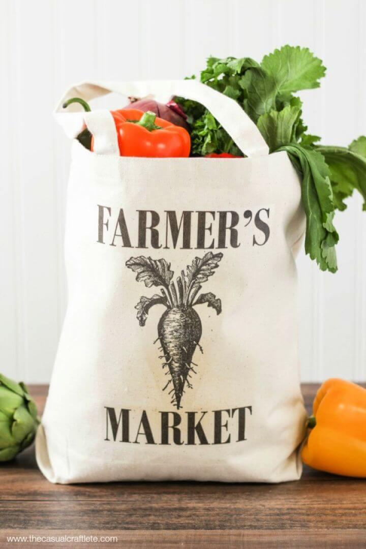 Simple DIY Farmer's Market Tote Bag