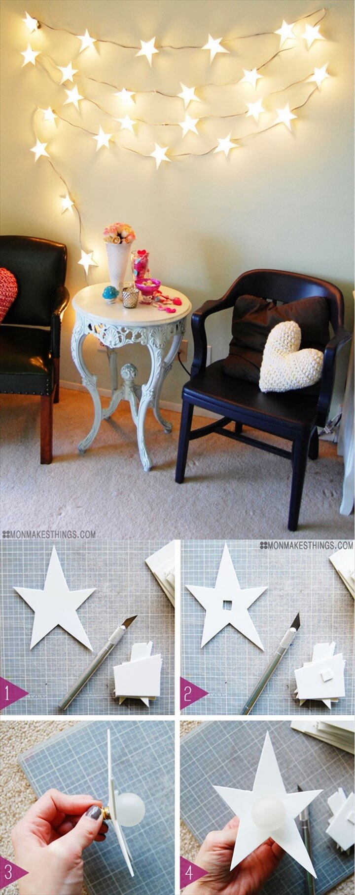 String Light DIY ideas for Cool Home Decor Star Garland Christmas Light DIY are Fun