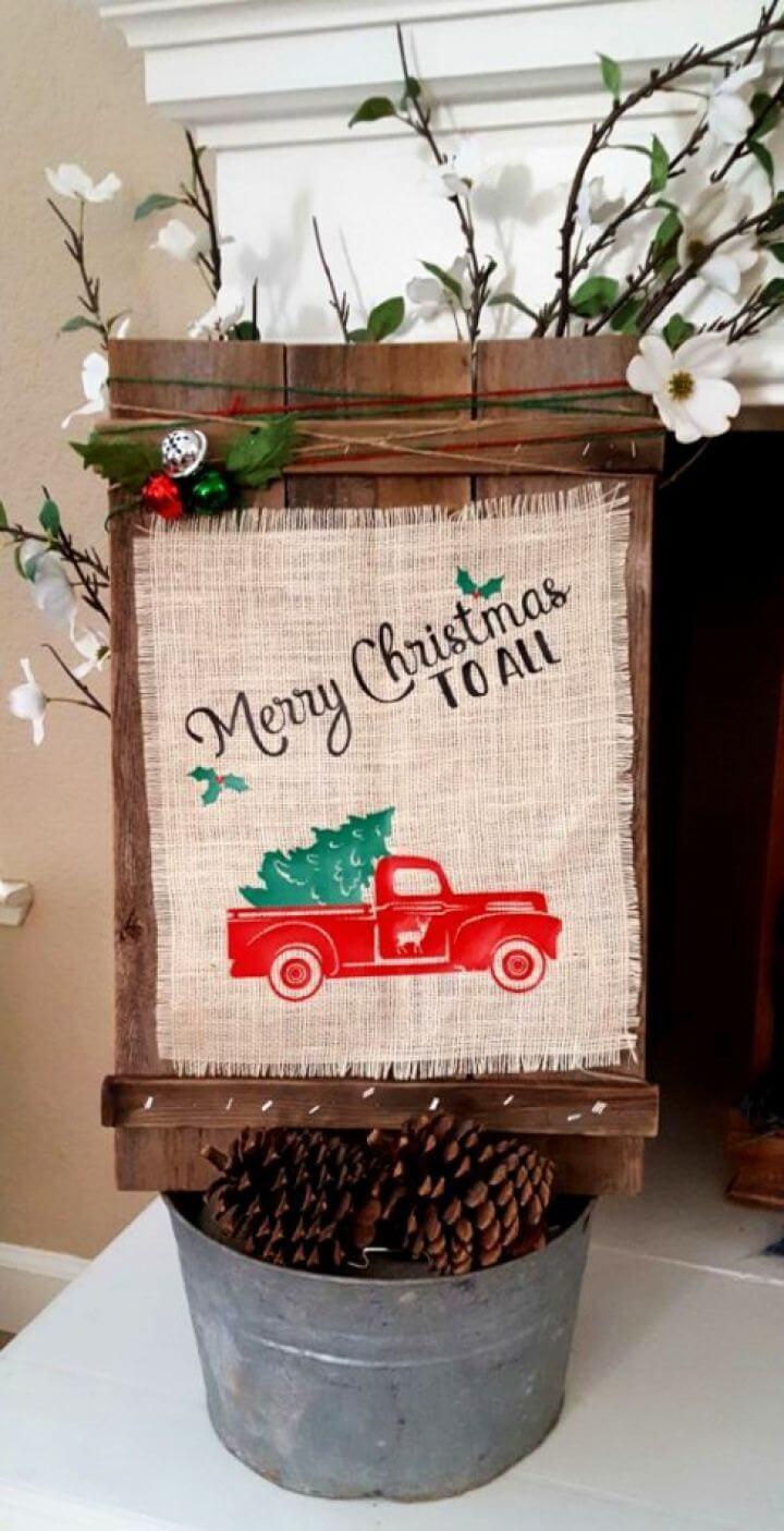 Super DIY Christmas Wood Burlap Sign