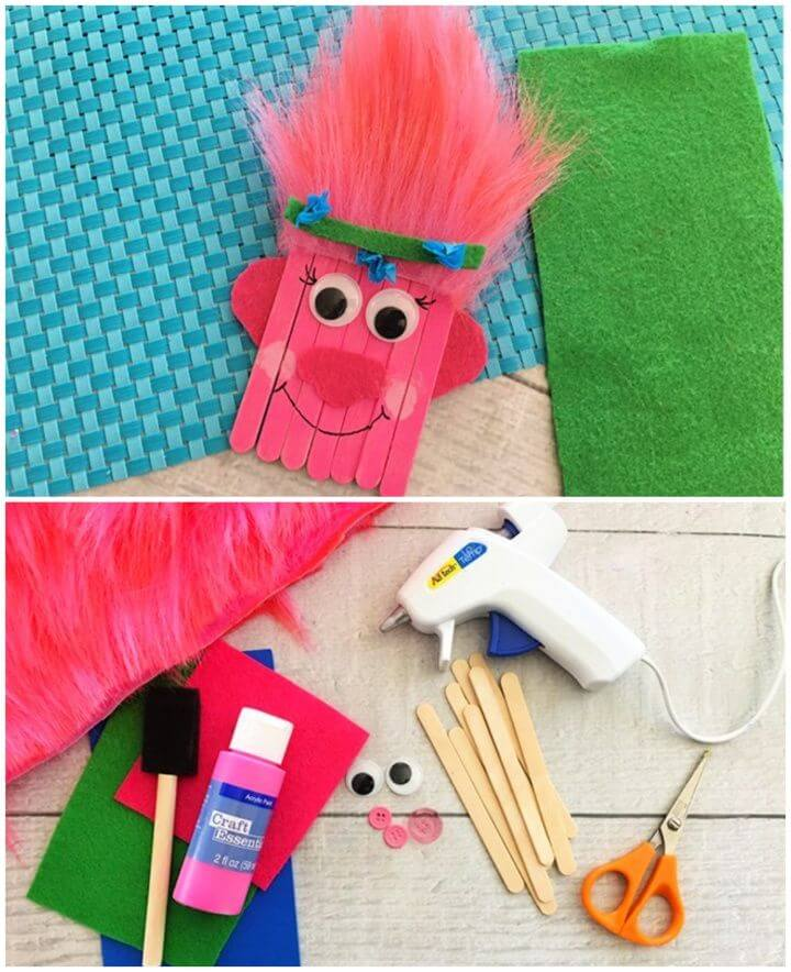 Trolls Poppy Popsicle Stick Craft for Kids