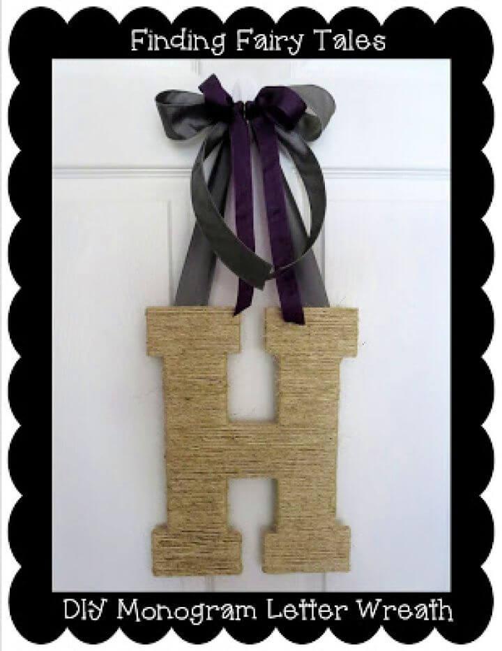 Twine Monogram Letter Wreath Tutorial