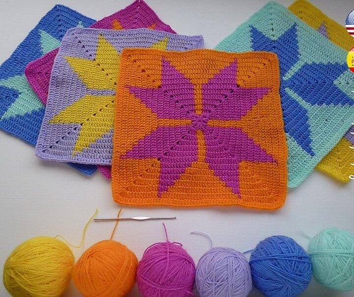 Blanket Geometric Tapestry Crochet Granny Square