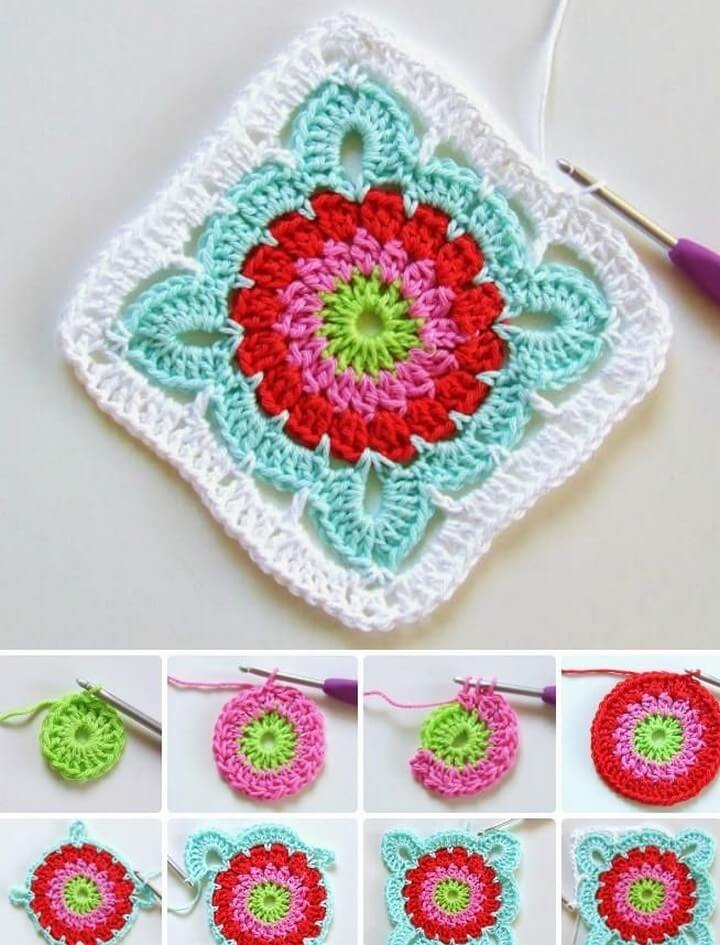 Crochet Patroon Flower Granny Square