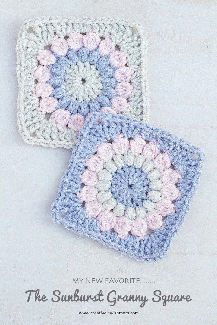 Crocheted Sunburst Granny Square Pattern