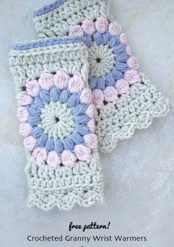 Crocheted Sunburst Granny Square Wrist Warmers Free Pattern