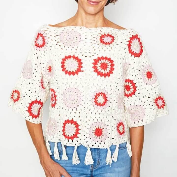 Granny Square Sweater Crochet Pattern