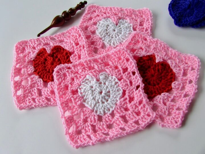 How to Crochet a Granny Heart Square