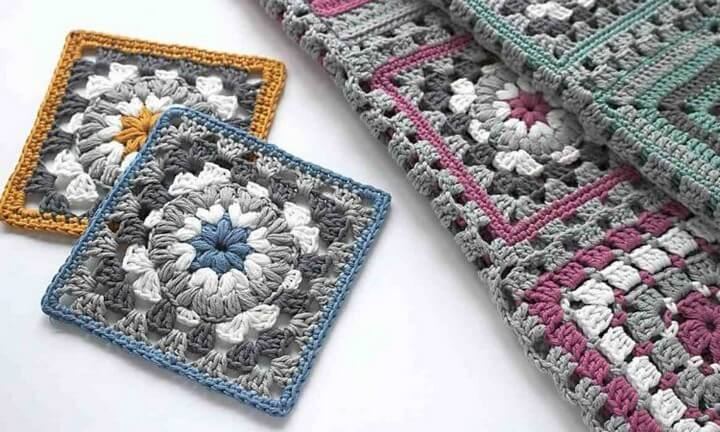 Triple Puff Granny Square for Blanket or Coaster