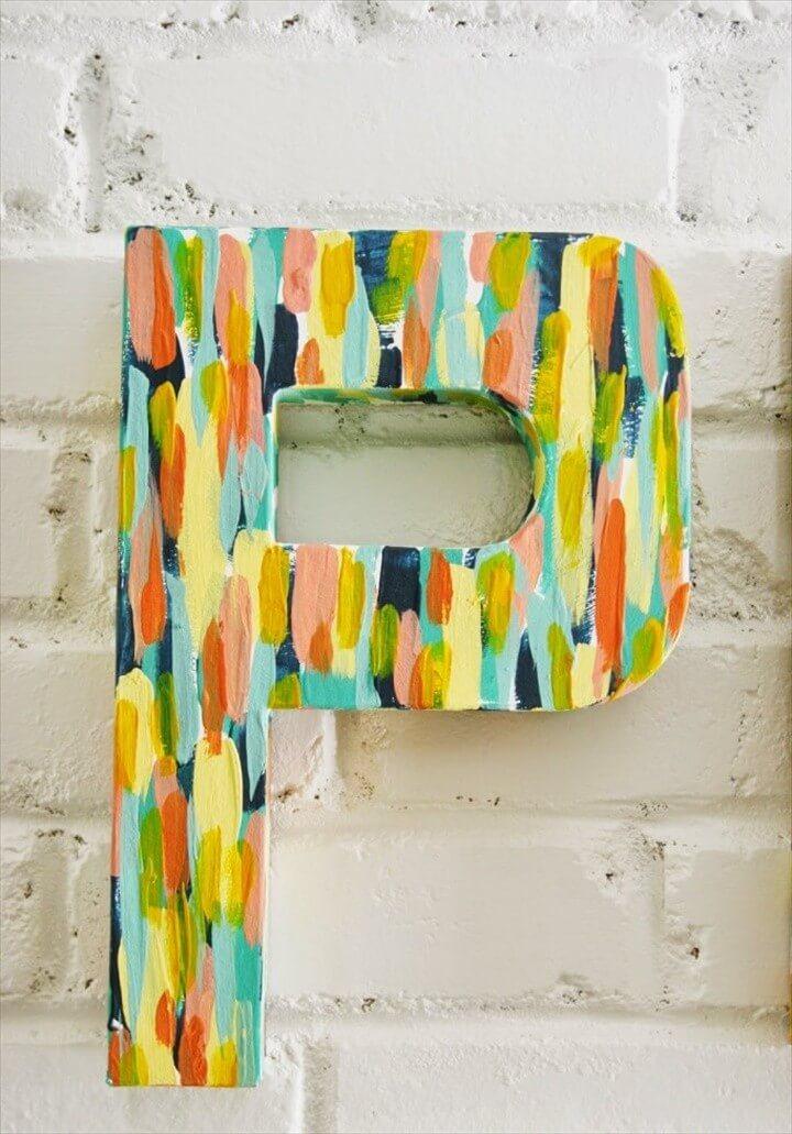 DIY Brush Stroke Letters For Home Decor