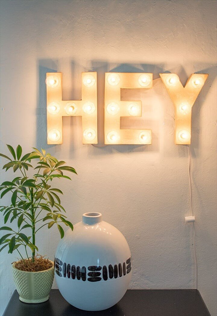 DIY Hey Marquee Sign For Home Decor Project