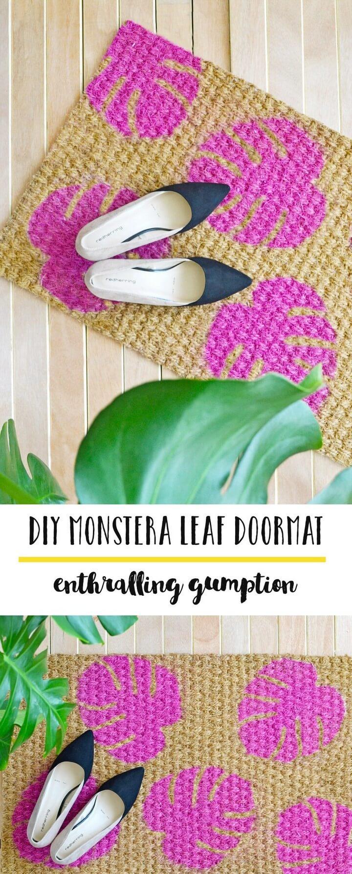DIY Monstera Leaf Dorrmat Tutorial