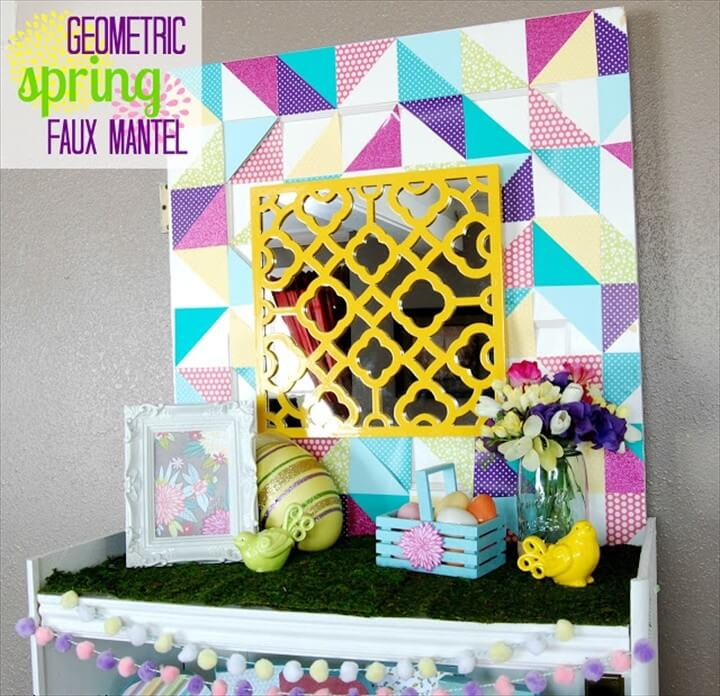 Geometric Spring Faux Mantel Triangle Backgroung
