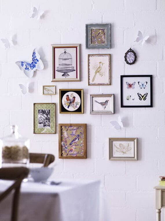 Frame wall with handmade paintings
