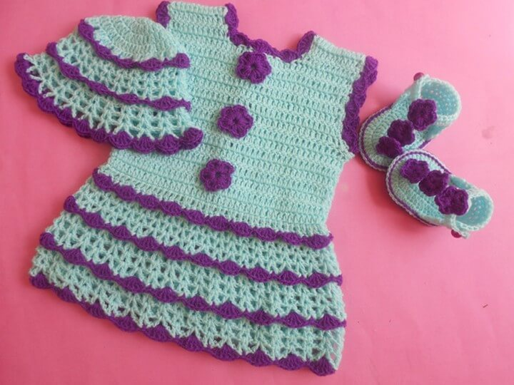 Amazing Color Crochet Baby Dress With Cap Sandals