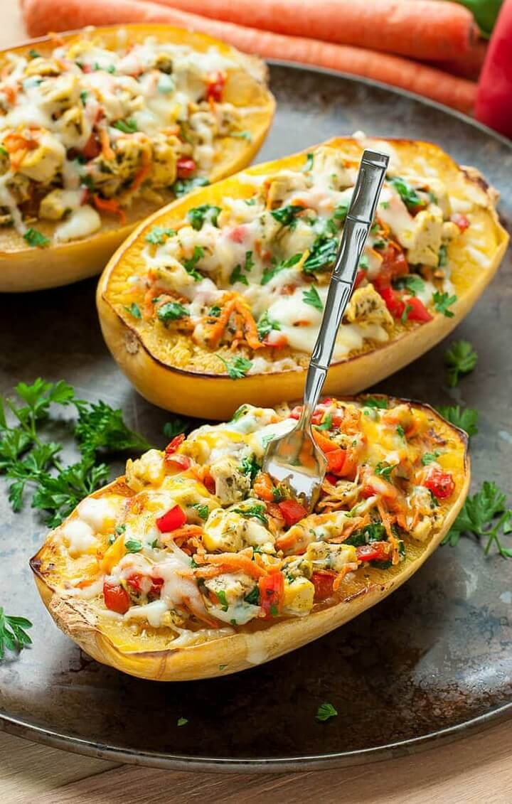 Cheesy Pesto Chicken and Veggie Stuffed Spaghetti Squash, diytomake.com