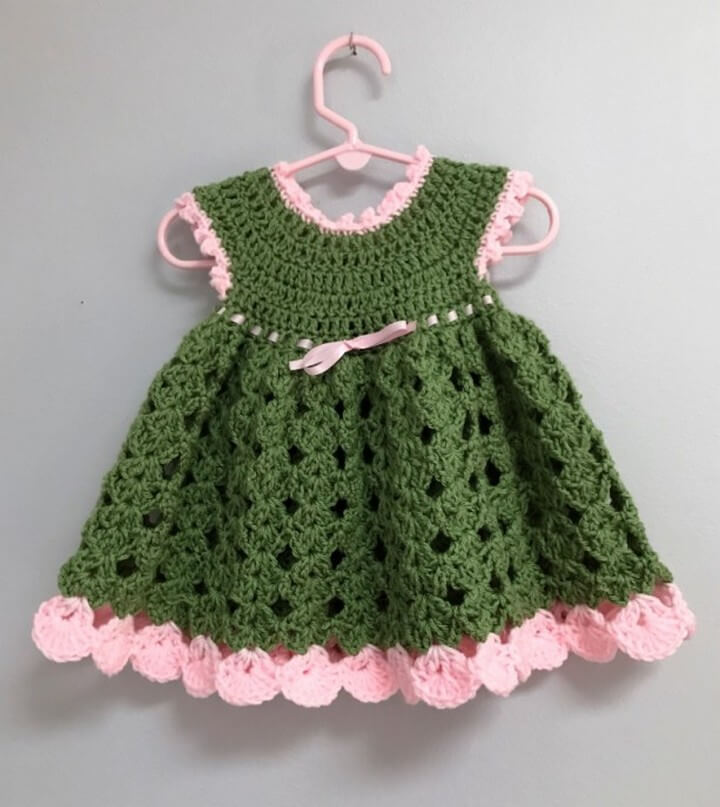 Crochet Baby Dress Pink and Green