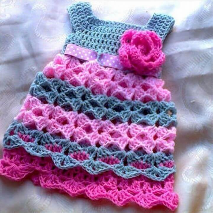 Crochet Baby Dress With Flower