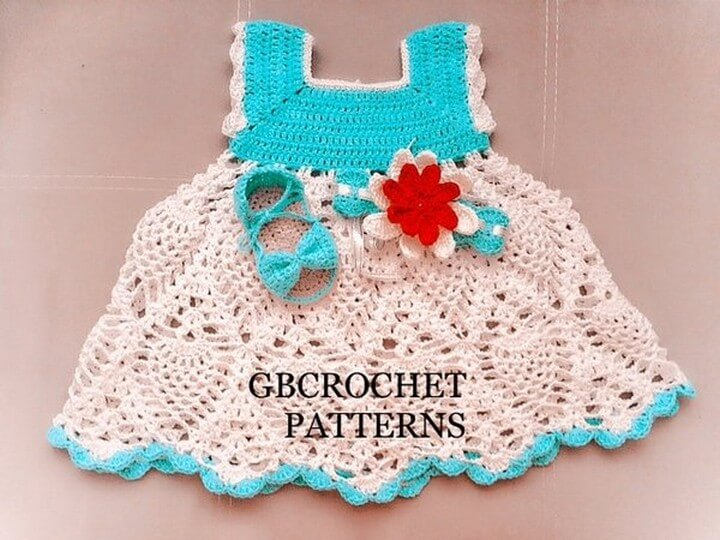 Crochet Baby Dress With Sandals