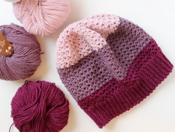 Crochet Hat Rose Mauve In Three Colors