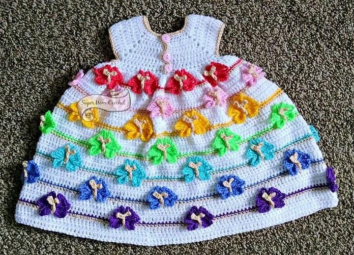 Crochet Newborn Babt Butterfly Dress