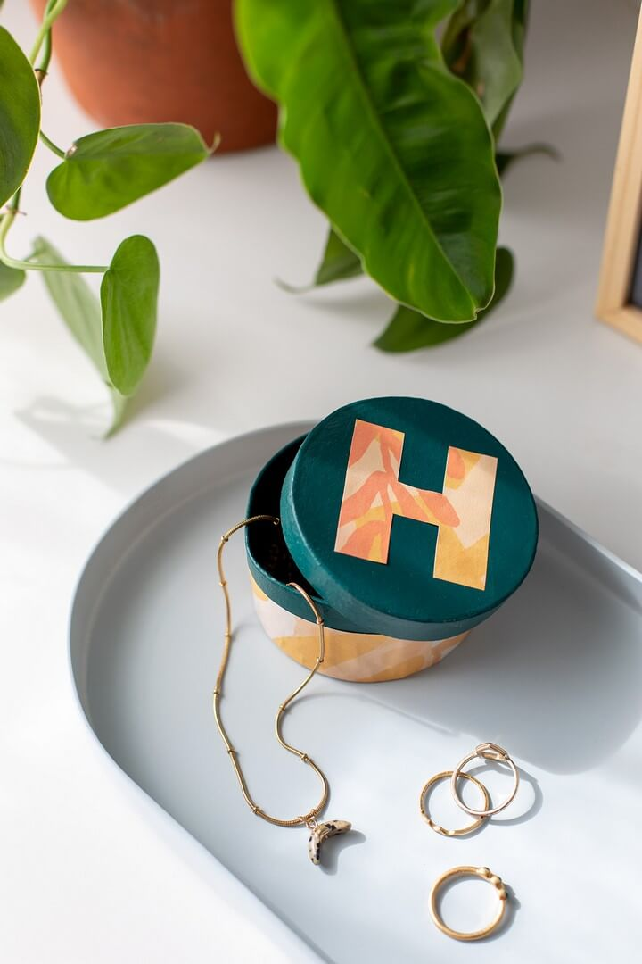 DIY Tropical Monogram Trinket Box