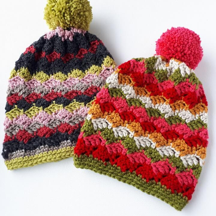 Easy Childrens Crochet Pom Pom Hats