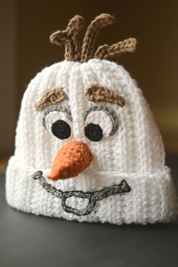 Homemade Crocheted Olaf Hat Pattern