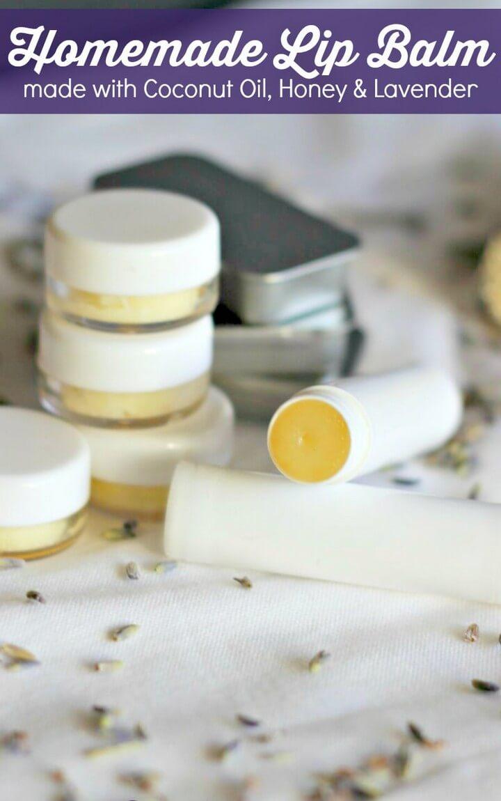 Homemade Lip Balm with Coconut Oil Lavender Honey
