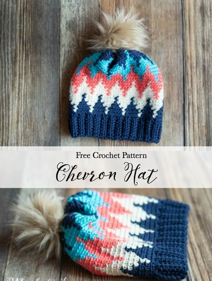 How To Make Crochet Chevron Hat