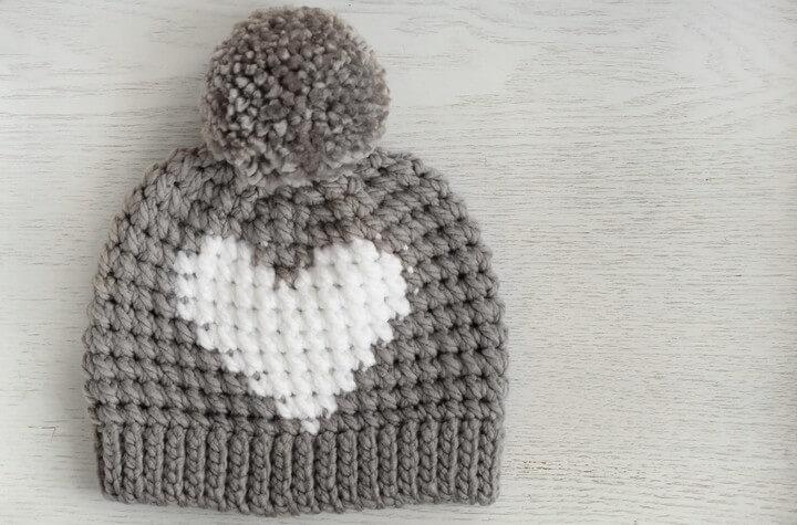Hunter Heart Crochet Heart Hat