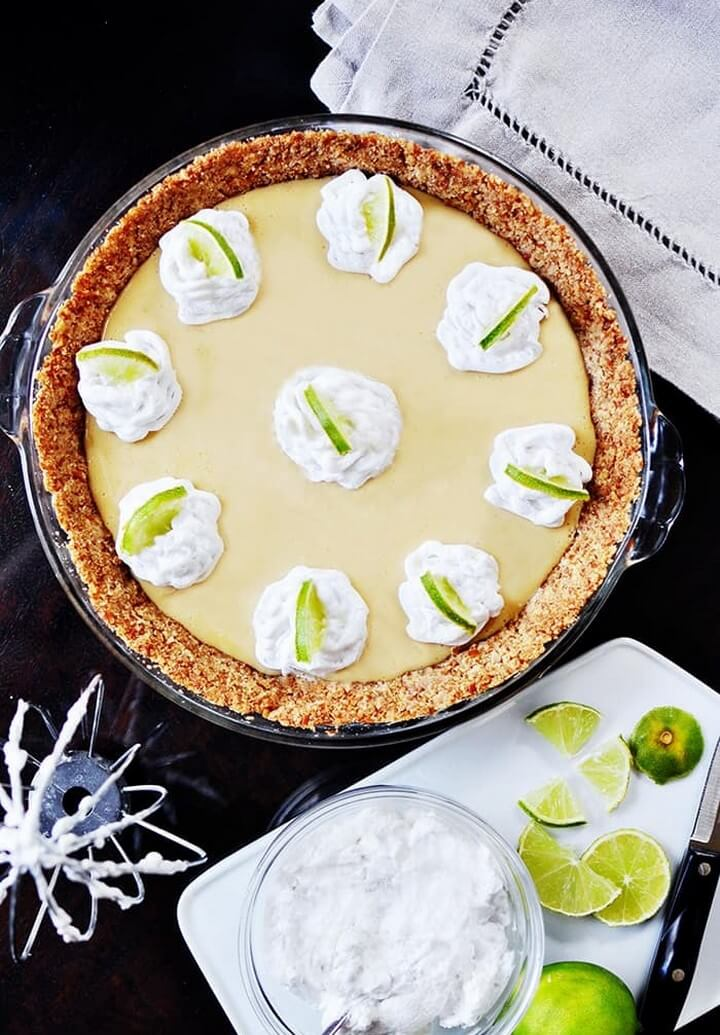 Key Lime Pie with a Pretzel Crust and Coconut Whipped Cream