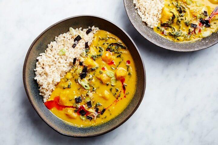 Miso Tahini Squash Soup with Brown Rice