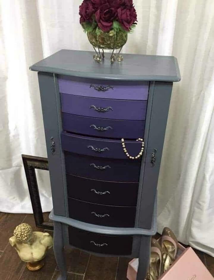 Ombre Painted Jewelry Armoire DIY